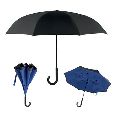 Windproof Upside Down Double 2 Layer Inverted Umbrella Reverse Opening Black