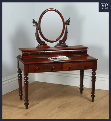 Antique Victorian Anglo Indian Colonial Teak Makeup Dressing Mirror Table c.1860