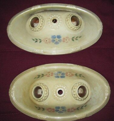 2 Vtg 1930's PORCELIER Flush Mount Dual Bulbs Light FIXTURES Flower Motif Pair