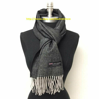 Men's 100% CASHMERE SCARF MADE IN SCOTLAND Herring Bone Tweed SOFT Black/Gray