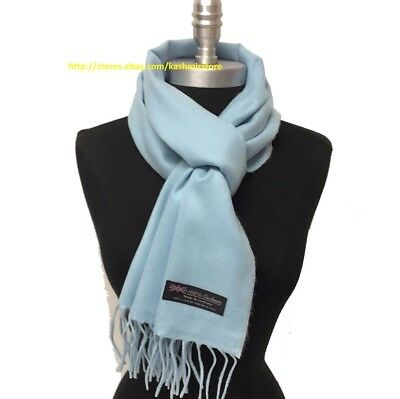 100% CASHMERE SCARF MADE IN SCOTLAND SOLID DESIGN SOFT Warm Wool Wrap Light Blue
