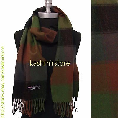 100% CASHMERE SCARF Check Plaid Black Gray Green Brown Scotland Soft Wool Wrap