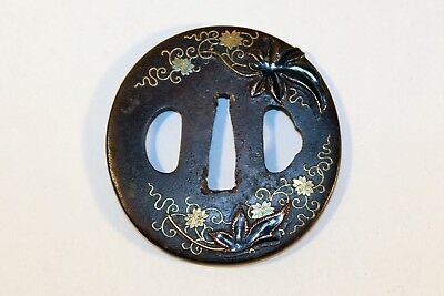 Japanese Edo Period Shakudo Inlaid Gold & Copper Iron Tsuba
