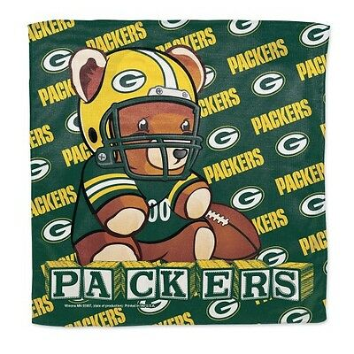 """Green Bay Packers Littlest Fan Burp Cloth 16""""x16"""" Polyester NFL Authentic NWT"""