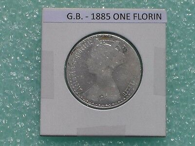 Great Britain - 1885 One Florin - Two Shillings- Predecimal Coin.