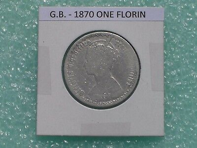 Great Britain - 1870 One Florin - Two Shillings- Predecimal Coin.