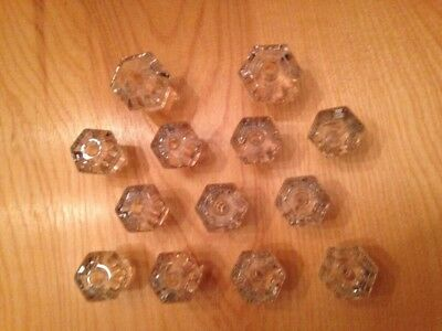 13 Vintage / Antique Glass Drawer Knobs Pulls in 2 Sizes All 6 sided 2 Lg 11 Sm
