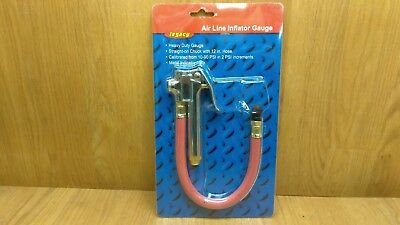 """Legacy Air Line Inflator Gauge Straight-on Chuck with 12"""" Hose AL2010 - NEW"""