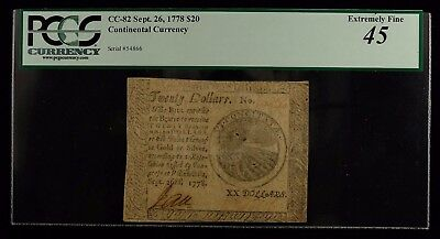 1778 Continental Currency $20 Pcgs Currency Certified 45 Extremely Fine (796)
