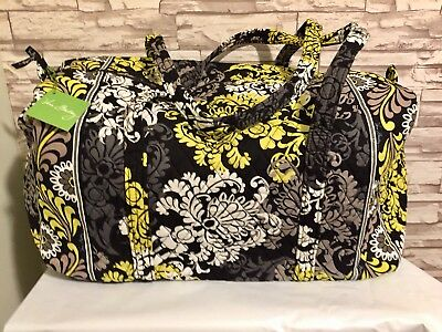 Vera Bradley Large Duffel in Baroque Black Yellow White NWT