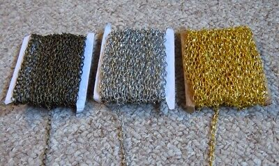 Lot of Craft Textured Cable Chain- Plated Bronze, Gold and Silver