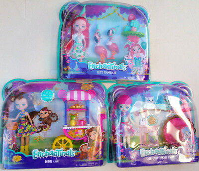 Enchantimals Sleepover Night Owl Let's Flamingle Fruit Cart Dolls 3 Set ~NEW~