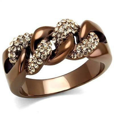 Beautiful Coffee Light IP Top Grade Crystal Cocktail Twisted Fashion Ring TK2982