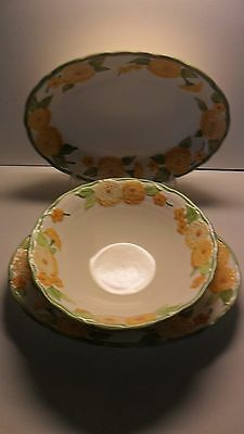 Poppy Trail Metlox Sculptured Zinnia Orange Green 2 Oval Platters 1 Serving Bowl