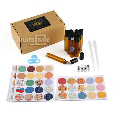 10ml Essential Oil Bottle Metal Roller Ball with 3ml Dropper Opener Sticker Set