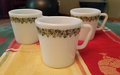 3 Vintage Spring Blossom Crazy Daisy Pyrex Corning Coffee Cups D-Handle Mugs