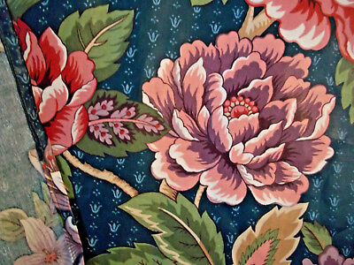 Vintage pair floral cotton drapes curtain panels cabbage roses abstract art deco