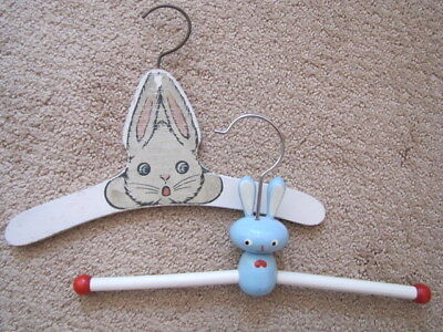 Two Vintage Wooden Child Children Hangers Rabbits
