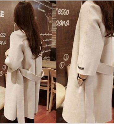 2016 New Winter Warm Women's Belt Slim Wool Blend Loose Outwear Coat Jacket Size