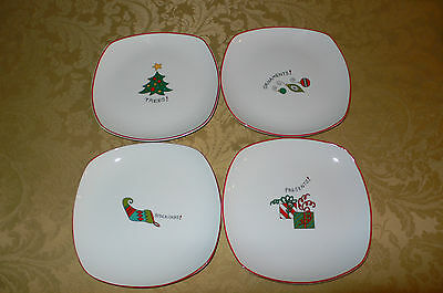 Gourmet By Fitz And Floyd Happy Holidays 4 Salad Plates