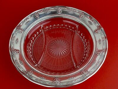 WALLACE Sterling Silver Rim Crystal ROSEPOINT  Divided Serving Dish