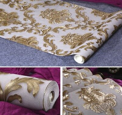 Gold Metallic Textured Damask Wallpaper Roll  Home Decor PVC Luxury