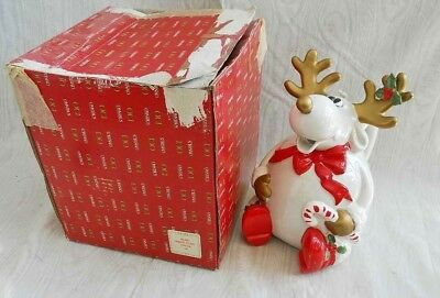 Vintage 80s New Old Stock In Box OMNIBUS Fitz Floyd Reindeer Christmas Pottery