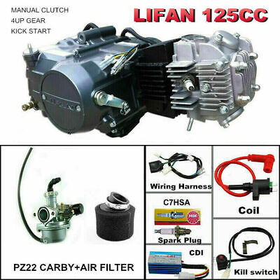 125cc manual LIFAN Engine motor full Wiring harness Carby air filter kit ATV PIT