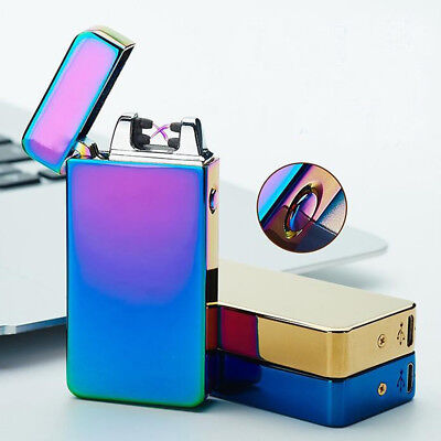 Lighter Rechargeable Plasma Windproof USB Electric Flameless Arc Dual Cigarette