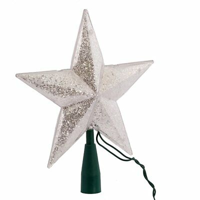 Lighted Star Tree Topper 10-Light Silver W Glitter For Christmas Decoration