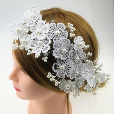 Wedding Lace Flower Pearls Headpiece Bridal Hair Jewelry Accessories