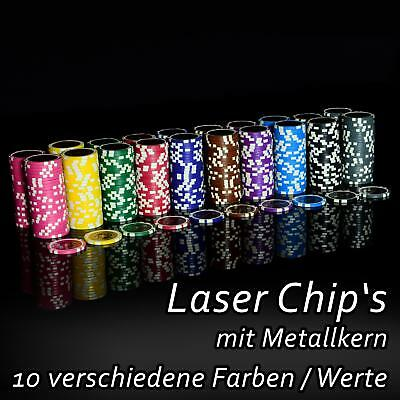 50 Poker Chips Casino Gewicht 12 gramm Metallkern 1 - 10.000 Poker-Laser- CHIP
