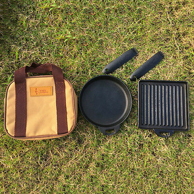 2pcs Iron Camping Steak Frying Pan Detachable Skillets + Carry Case Outdoor