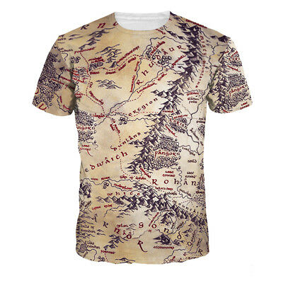 Women Men Lord of the Rings Map Short Sleeve 3D Print Casual T-Shirt Tops Tee