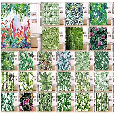 Tropical Palm Leaves Floral Flamingo Shower Curtain & 12 Hooks Waterproof Fabric