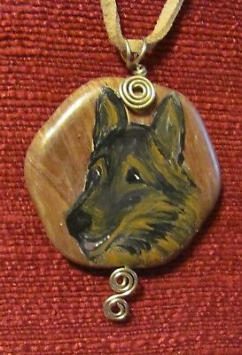 Belgian Tervuren hand painted on wire wrapped pendant/bead/necklace