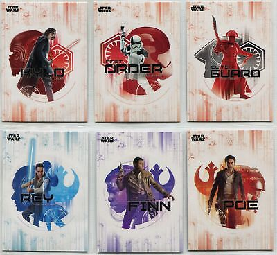 Star Wars Last Jedi Complete Stickers Chase Card Set DS1-6
