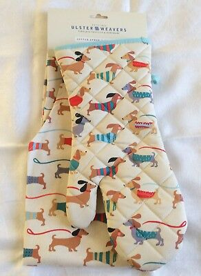 Ulster Weavers Dachshund Dog Apron & Oven Mitt Set NEW Doxies in Coats & Leashes