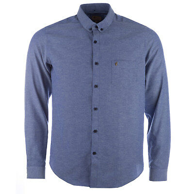 Mens Gabicci Vintage Oxford Shirt Blue Chambray V34GW11 Long Sleeve Button Down