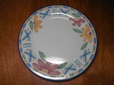 "Staffordshire England BOLERO Set of 5 Dinner Plates 10"" Blue Yellow Flowers"