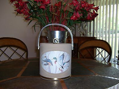 Vtg Signed NORMAN R WAMER Tan Suede Duck/Mallard Ice Bucket Container & Tongs