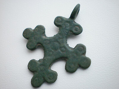 ANCIENT Bronze Viking CROSS PENDANT Viking Kievan Rus 9 - 10 century AD Wearable