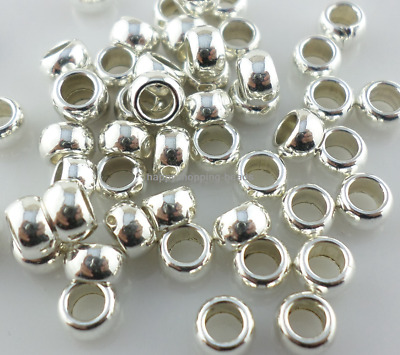 160/1300pcs Tibetan Silver Hole:3mm Round Ring Charm Loose Spacer Beads 3x5mm