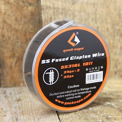 SS316L 24 AWG Fused Clapton Wire (24 AWG x 2 + 32 AWG) by GeekVape