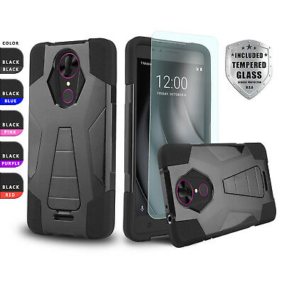 Fusion Shockproof Hard Cover Phone Case For [Tmobile Revvl Plus] +Tempered Glass