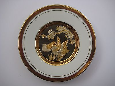 Vintage Japanese art of choking small decorative plate, ducks on the pond, 24KT