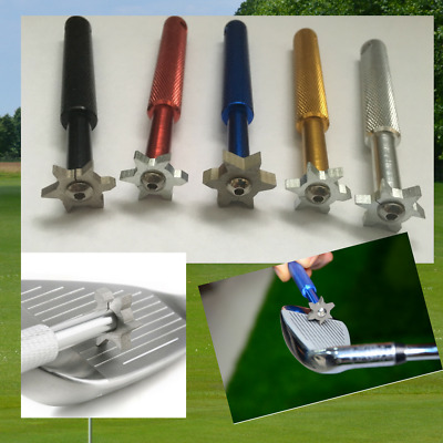 Golf Wedge Iron Groove Sharpener & Groove Cleaner Multi Colour Spin Back Wedges