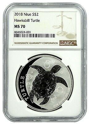 2018 Niue 1oz Silver Hawksbill Turtle NGC MS70 - Brown Label