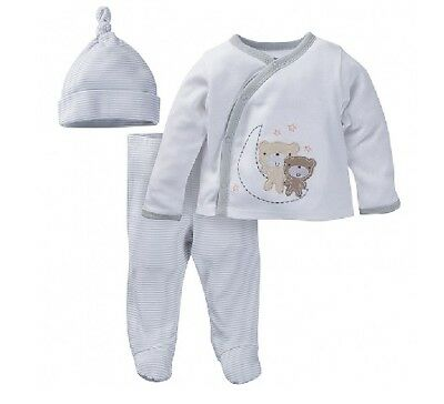 "Gerber 3-Piece Unisex Gray Bears ""Take Me Home"" Set Size NB; Baby Clothes Gift!"