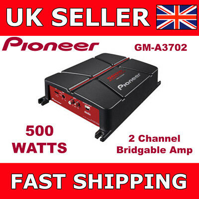 Pioneer 2 Channel Amplifier Two Channel Bridgeable Car Amp 500 Watts GM-A3702